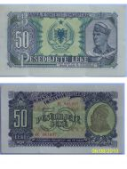 Albania 50 Lek Leke 1957 Banknote Paper Money Albanian People's Republic Socialism Communism Enver Hoxha