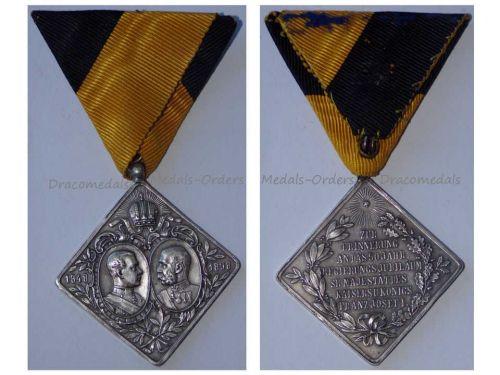 Austria Hungary Golden Jubilee Kaiser Franz Joseph Military Medal 1848 1898 KuK Austro Hungarian Empire Rhombus Silver 925