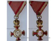 Austria Gold Merit Cross Crown Viribus Unitis 1849 1917 Medal KuK Austro Hungarian Decoration Bachruch