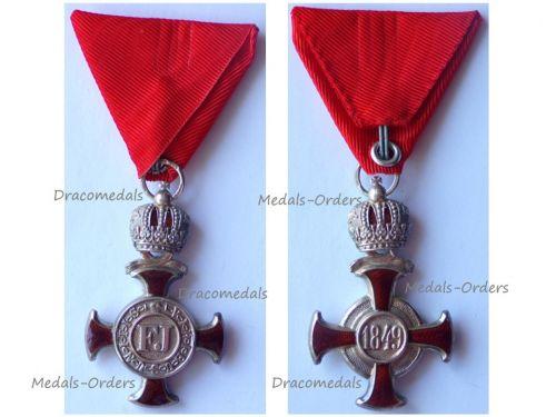 Austria Hungary Silver Merit Cross with Crown Viribus Unitis 1849 by Wilhelm Kunz