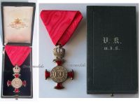 Austria Silver Merit Cross Crown Viribus Unitis 1849 1917 Medal KuK Austro Hungarian Decoration V. Mayers Boxed 1895