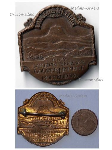 Austria Hungary WWI Mount Lovcen Montenegro Military Government 1916 Cap Badge Patriotic Great War 1914 1918 by Gurschner