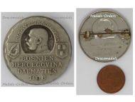 Austria Hungary WW1 Bosnia Herzegovina Dalmatia 1916 Cap Badge by Gurschner in Nickel