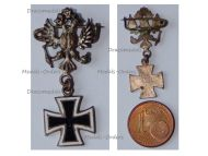 Austria Hungary WW1 Cap Badge Austrian Imperial Double Headed Eagle with Iron Cross