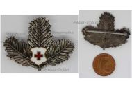 Austria Hungary WWI Red Cross Patriotic Cap Badge Pine Branches Military Decoration WW1 Great War 1914 1918 Austro Hungarian Empire