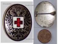 Austria Hungary WW1 Red Cross Cap Badge Imperial Double Headed Eagle