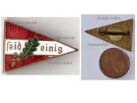 Austria Fatherland Front Be United Patriotic Cap Badge Pin Oak Leaves 1st Austrian Republic 1933 1938 Maker Hans Gnad Vienna