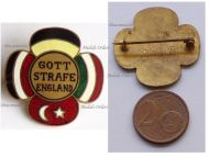 Austria Hungary WW1 Cap Badge with the Central Powers Flags Inscribed God Punish England Marked Geset. Geschutzt