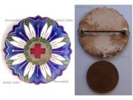 Austria Hungary WW1 Red Cross Nurses Cap Badge for Mountain Medical Units with Edelweiss Flower