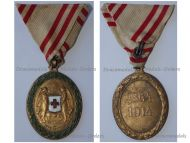 Austria Hungary WW1 Red Cross Bronze Merit Medal with War Decoration 1864 1914