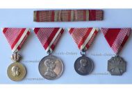 Austria Hungary WW1 Signum Laudis Silver Tapferkeit Karl's Cross Troops 1914 1918 Military Medal set Kaiser FJ KuK Austrian Great War