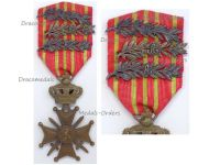 Belgium WW1 War Cross 1914 1918 with 3 palms King Albert's Royal Cipher