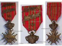 Belgium WW1 War Cross with Bronze Lion 2 Palms of King Albert