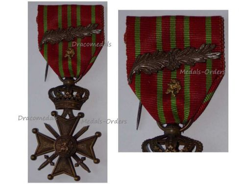 Belgium WW1 War Cross Medal Croix Guerre 1914 1918 Palms Bronze Lion Belgian Great War Decoration WWI King Albert