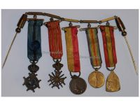 Belgium WW1 Officer Order Leopold II War Cross Victory Liege Military Medals set Decoration WWI 1914 1918 MINI