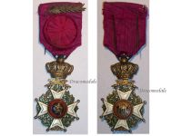 Belgium WW1 Order Leopold I Officer's Cross Military Division with King Albert's Silver Palms