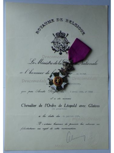 Belgium WW2 Order Leopold I Knight's Cross Military Division Bilingual 1952 with Diploma 1959