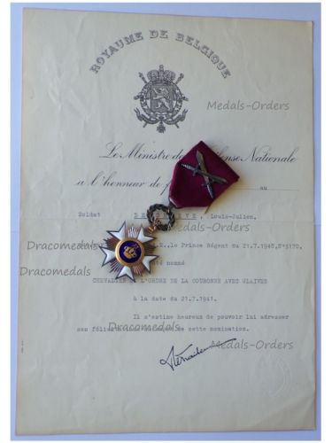 Belgium WW2 Order of the Crown Knight's Star with Swords & Diploma