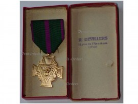 Belgium WW2 Cross Recognition Fraternal Unions Secret Army Gold Resistance Military Medal 1940 1945 Belgian by Fibru Boxed