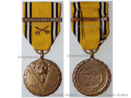 Belgium WW2 Victory Commemorative Medal with Swords Bar Campaign of Germany