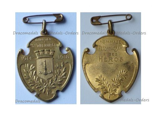 Belgium WW1 Victory Medal 1914 1918 District of Saint Walburge in Liege