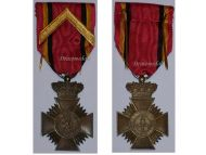 Belgium WW1 Bravery Distinguished Service Military Medal 1st Class Chevron Belgian Decoration King Albert