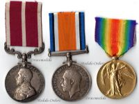Britain WW1 Medals Set Trio NCO RASC Royal Army Service Corps (Victory, War, Army Meritorious Service Medal)