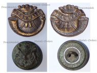 Great Britain WW1 Duke of Cornwall's Light Infantry Regiment Collar Badge & British Army Button