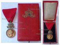 Bulgaria WW1 WW2 Royal Medal of Merit Bronze 3rd Class with Crown King Boris III 1918 1944 Boxed