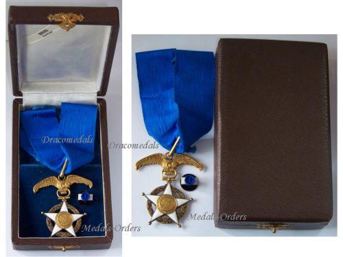 Chile National Order Merit Commander's Star Chilean Civil Military Medal Decoration Boxed Maker E. Hours Santiago