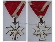 Croatia Order Crown King Zvonimir Cross 3rd Class Swords WWII 1941 Military Medal WW2 Ustasa Ande Pavelic