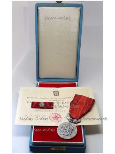 Czechoslovakia Silver Medal Merit Defense Homeland Military Decoration CSSR Czech Award Marked 925 by Zukov Ribbon Bar Diploma Captain 1971 Boxed