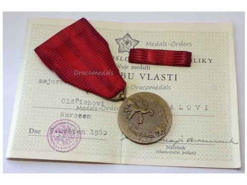 Czechoslovakia Homeland Service Military Medal CSR Czech Decoration Award with Ribbon Bar Diploma to Major Dated 1955