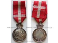 Denmark Silver Royal Medal of Recompense With Crown King Christian X by Lindahl & Thomsen