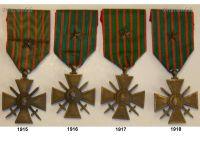 France Set of 4 WW1 War Crosses 1914 1915 1916 1917 1918