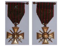 France WW1 War Cross 1914 1918 with 3 Citations 3 Stars (2 Bronze 1 Silver) & Officer's Bar Locally Made Type