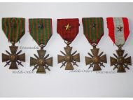 France WW1 Medal 5 War Cross Croix Guerre 1914 1915 1916 1917 1918 TOE set Decoration French Great War
