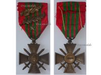 France WWII War Cross Croix de Guerre 1939 star 2 palms Military Medal WW2 1945 French Decoration Award