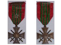 France WW2 War Cross 1939 with 4 Citations (Palms 2 Bronze and 1 Silver Stars)