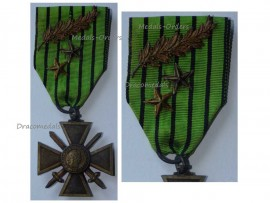 France WW2 War Cross Croix de Guerre Vichy 1939 1940 LONDON type Palms 2 Stars Military Medal WWII French Decoration Merit Award