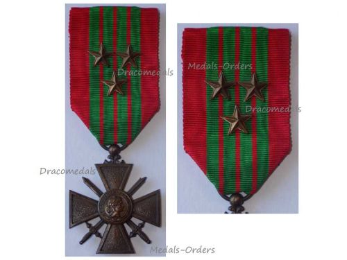 France WW2 War Cross Croix de Guerre 1939 with 3 Stars Military Medal WWII 1945 French Decoration Award Paris Mint