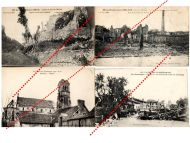 France WW1 4 Field Post Postcards Destroyed  City Souain Marne Silley Champagne French Photo 1914 1918 Great War WWI