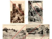 France WW1 4 Field Post Photo Postcards Destroyed Bridge City Souain Marne Cathedal French 1914 1918 Great War WWI