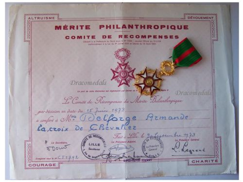 France Philanthropic Merit Knight's Cross French Civil Medal 1973 Decoration French Award Diploma 5th Republic