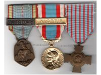 France Set of 3 Medals (WW2 Commemorative Medal with Africa Clasp, North Africa Medal with Algeria Clasp, Combatants Cross) by the Paris Mint