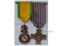 France WW2 Valor Discipline Cross Combatants Military Medals set WWII 1939 1945 French Decoration
