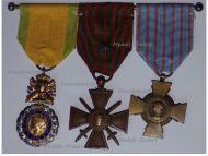 France WW1 Set of 3 Medals (Valor & Discipline Medal, War Cross 1914 1918 with Silver Star & Combatants Cross)