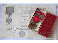 France WW1 Verdun Medal 1916 with Clasp Verdun by Vernier with Ball Suspender Boxed with Monolingual Diploma to Warrant Officer of the Zuaves Infantry Regiment