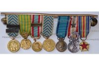 France Set of 7 Medals (Nation's Gratitude, Indochina North Africa, Algeria, Wound, Police, Sports Medal) MINI