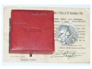 France WW1 Silver Verdun Medal 1916 by Vernier Non Wearable Type by the Paris Mint for Officers Boxed with Monolingual Diploma